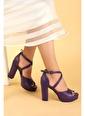 Ayakland Ayakland 3210-2058 Cilt Abiye 11 Cm Platform Topuk Bayan Sandalet Ayakkabı Mor